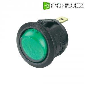 Kolébkový spínač, s doutnavkou, 1x vyp/zap, 250 V/AC, 6 A, černá/zelená