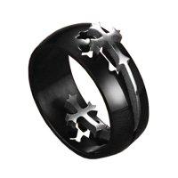 Prsten Dark černá/stříbrná barva 69mm, pánský