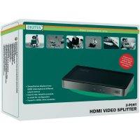 HDMI rozbočovač Digitus DS-41300, N/A, možnost 3D přehrávání, 2 porty, černá, stříbrná