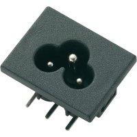 Vestavná síťová IEC zástrčka C6, 250 V, 2,5 A, horizontální montáž