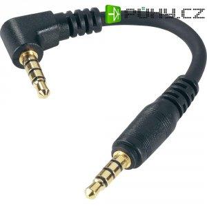 Audio kabel 4pólový 3,5 mm jack, 9 cm, černá