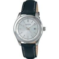 Ručičkové náramkové hodinky Eurochron 900 Quartz, kožený pásek, černá/stříbrná