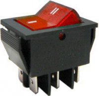 Přepínač kolébkový ON-ON 2pol.250V/15A červený