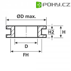 Průchodka HellermannTyton HV1301-PVC-BK-M1, 633-03010, 7,0 x 1,0 mm, černá