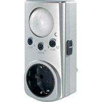 Zásuvka s detektorem pohybu 120°, EMP600PIR, IP20, stříbrná