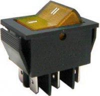Přepínač kolébkový ON-OFF-ON 2pol.250V/15A žlutý