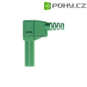 Lamelový konektor Ø 4 mm MultiContact 22.2667-25, zástrčka úhlová, zelená