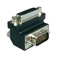 Adaptér DVI 24+ 5-pólový na VGA 15-pólový, zásuvka/zástrčka, 90°