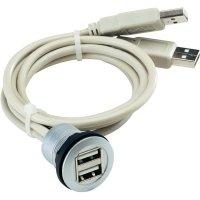 USB 2.0 zásuvka Typ A vestavná se 2 zástrčky Schlegel RRJ_2USB, IP67, 60 cm, šedá