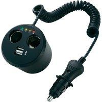 Rozbočovač s USB do autozásuvky do držáku na pití, A13-155B, 2xUSB, 12 V, 10 A, dvojitý