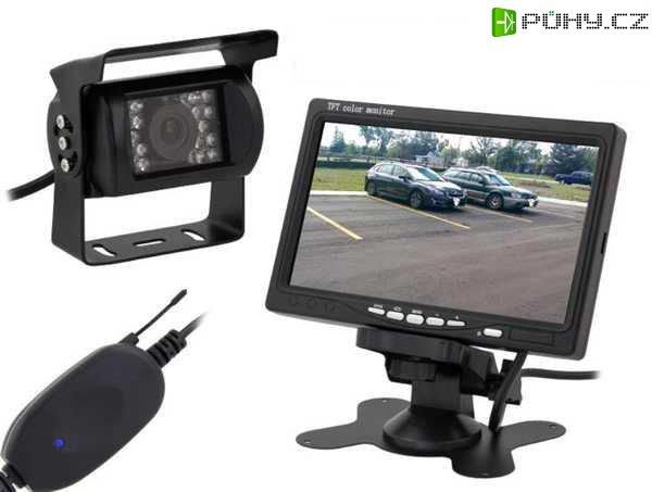 """Bezdrátová couvací kamera se 7"""" LCD monitorem a nočním viděním - Kliknutím na obrázek zavřete"""