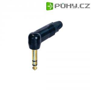Jack konektor 6,35 mm stereo Neutrik NP3RX-B, zástrčka úhlová, 4 - 7 mm, 3pól., černá