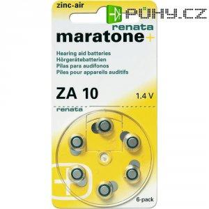 Knoflíková baterie ZA 10, Renata PR70, zinek-vzduch, vhodné do naslouchátek, 6 ks