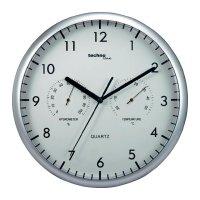 Analogové nástěnné hodiny s tep./vlh. Techno Line WT 650, Ø 26 cm, stříbrná/bílá