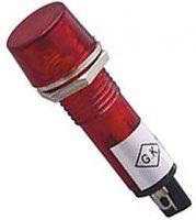 Kontrolka LED 12V, červená do otvoru 10mm