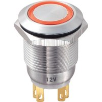 Tlačítko antivandal bez aretace TRU COMPONENTS LAS1-GQ-11E/R/12V, 250 V/AC, 5 A, nerezová ocel, 1x vyp/(zap), červená