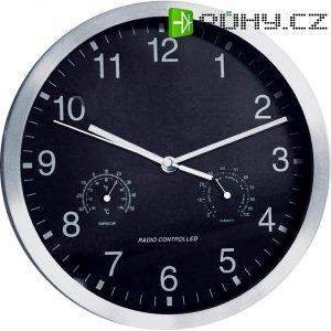 Analogové nástěnné DCF hodiny s teploměrem a vlhkoměrem, 25cm, chrom/ černá