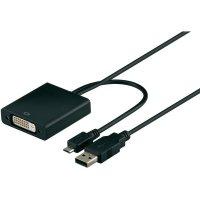 DVI, USB kabel, DVI zásuvka 24+1pol., USB 2.0 zástrčka Micro-A/USB 2.0 zástrčka A