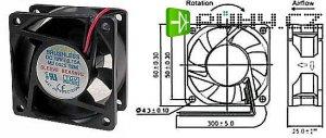 Ventilátor 60x60x25mm 12V/0,15A 4000 ot/min