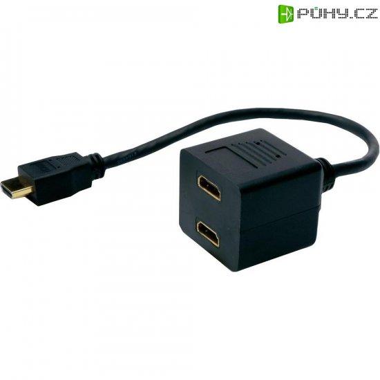 Splitter HDMI vidlice ⇔ 2 HDMI zásuvka, 0,2 m, černý - Kliknutím na obrázek zavřete
