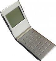 Kalkulačka+hodiny+budík, skládací, kovový obal