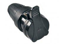 Zásuvka 230V, přímý vývod, černá gumová, krytí IP44