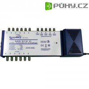 Satelitní multipřepínač, EuroSky MS 512 C, 5 vstupů, 12 výstupů