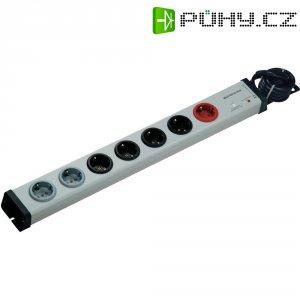 Zásuvková lišta Master-Slave s přepěťovou ochranou a síťovým filtrem Ehmann, 7 zásuvek, šedá/černá