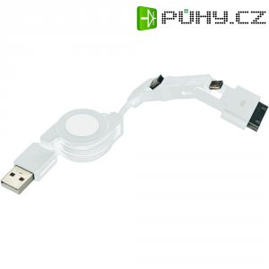 Datový kabel pro Apple iPhone 3v1, miniUSB 2.0 typ B ⇔ microUSB 2.0 typ B