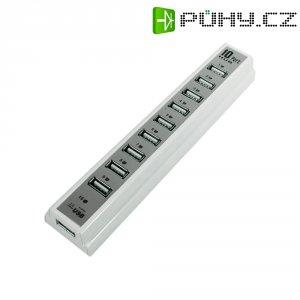 USB 2.0 hub LogiLink s adaptérem, 10-portový, bílý