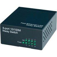 Síťový switch Nway, 8portový, 76 x 39 x 91 mm, černý
