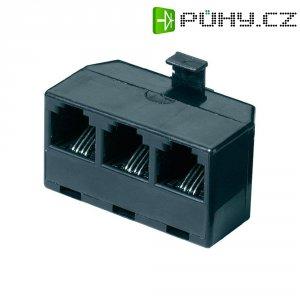 ISDN Y adaptér, AWG rovný, černá, 1x RJ11 (M) 6p4c / 3x RJ11 (F) 6p4c