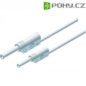 Měřicí kabel banánek 4 mm ⇔ banánek 2 mm SKS Hirschmann MAL S WS 2-4 100/1, 1 m, bílá