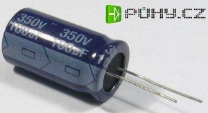 100u/350V 85° 20x35x7,5mm, elektroyt.kondenzátor radiální