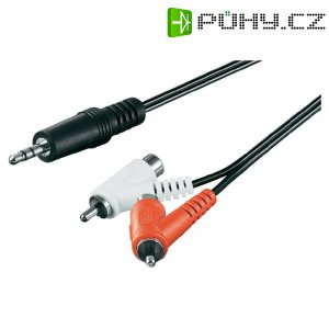 Kabel s adaptérem, jack zástr. 3,5 mm/ 2xcinch zástr., černý, 1,5 m