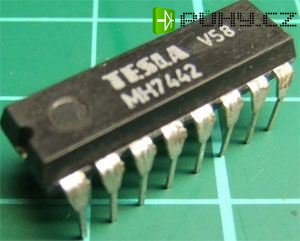 7442 převodník BCD na kód 1 z 10, DIL16 /MH7442,MH7442S,MH5442,MH5442S