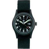 Ručičkové náramkové hodinky S&W Military, 76050, látkový pásek, černá