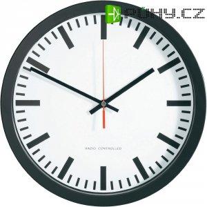 Nádražní DCF hodiny, Ø 30 cm, černá