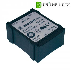 Plochý transformátor Weiss UI 30, 230 V/2x 12 V, 2x 417 mA, 10 VA