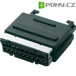 SCART konektor, zástrčka vestavná vertikální , 21pól., černá