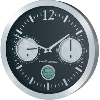 Analogové nástěnné DCF hodiny Renkforce 12112BS-D, Ø 30 cm, hliník