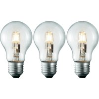 Halogenová žárovka Sygonix, E27, 42 W, 95 mm, stmívatelná, teplá bílá, 3 ks