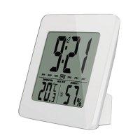 Teploměr TE12W bílý, teplota, vlhkost, budík, LCD displej, bílý rámeček SOLIGHT