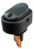 Vypínač kolébkový ON-OFF 1pol.12V/20A,červená LED