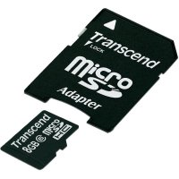 Pamětová karta microSDHC Transcend 8GB, Class 6, SD adaptér