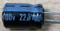 22u/100V 85° 9x13x3mm, elektrolyt.kondenzátor radiální