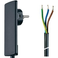 Síťový kabel Schulte Elektrotechnik, plochá zástrčka/otevřený konec, 1,5 m, černá