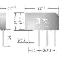 Křemíkový můstkový usměrňovač Diotec B500C7000-4000A, U(RRM) 1000 V, 4 A, SIL