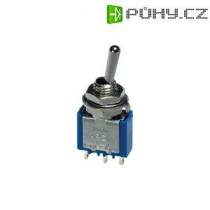 Páčkový spínač APEM, 1x (zap)/vyp/(zap), 250 V/AC, 3 A, Ø 6 mm