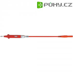 Měřicí silikonový kabel banánek 4 mm ⇔ měřící hrot MultiContact XSPP-419/SIL, 1 m, červená